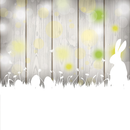 slat: Easter greeting card with rabbit, eggs and lights on the wooden background. Eps 10 vector file. Illustration