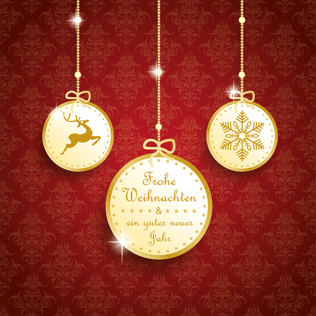 thaler: German text Frohe Weihnachten, ein gutes neues Jahr, translate Merry Christmas and happy new year. Eps 10 vector file.