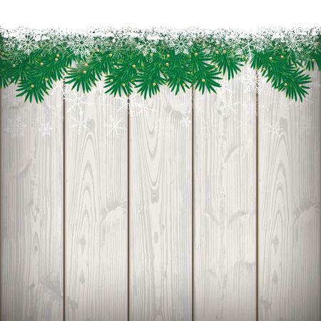 Fir twigs with snow on the wooden background. Eps 10 vector file.