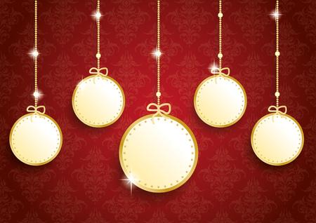 thaler: Golden christmas baubles on red background. Eps 10 vector file. Illustration