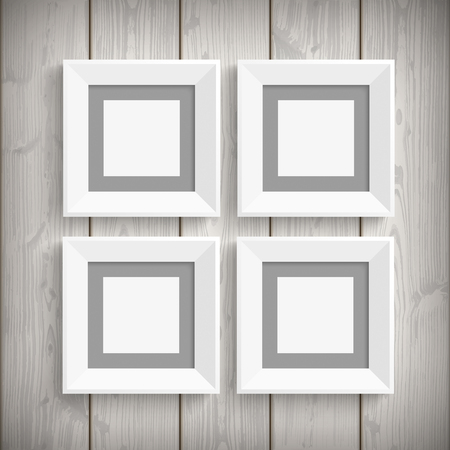 4 white picture frames on the wooden background. Eps 10 vector file.