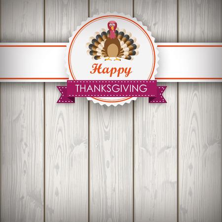 Foliage in autumn colors with thanksgiving emblem and turkey on wooden background. Eps 10 vector file.