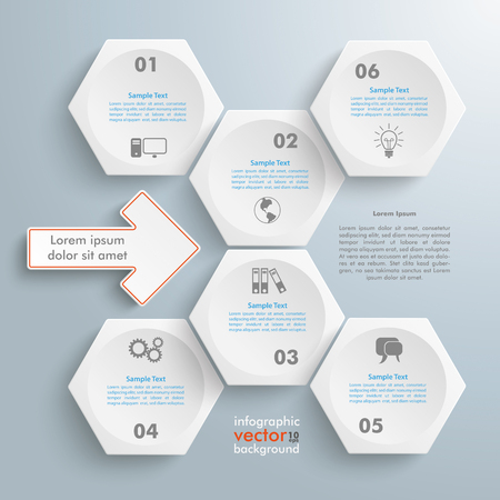 six web website: Infographic with honeycomb structure with arrow on the gray background. Eps 10 vector file. Illustration