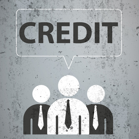3 businessmen with speech bubble and text credit on the concrete. Eps 10 vector file.