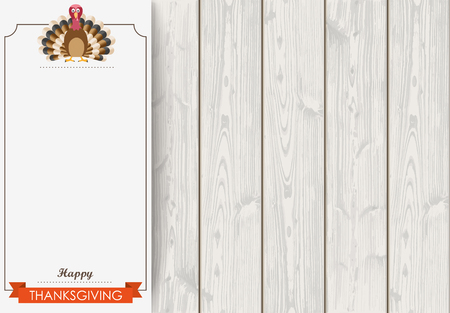 oak wood: Oblong banner with ribbon, turkey and wooden background. Eps 10 vector file.