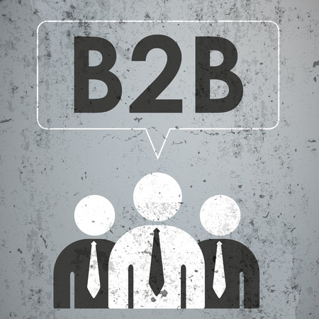 data distribution: 3 businessmen with speech bubble and text B2B on the concrete. Eps 10 vector file.
