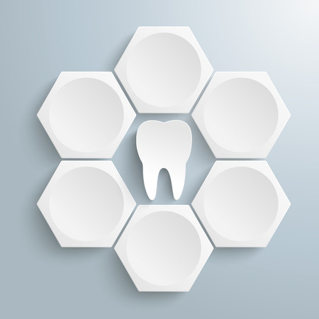 reports: Infographic with honeycomb structure and tooth on the gray background. Eps 10 vector file.