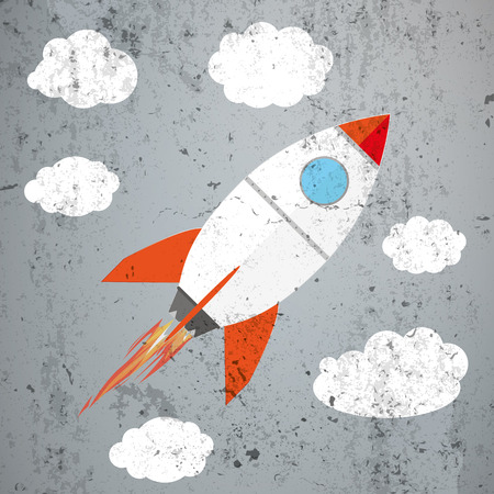 wall design: Rocket with clouds on the concrete. Eps 10 vector file. Illustration