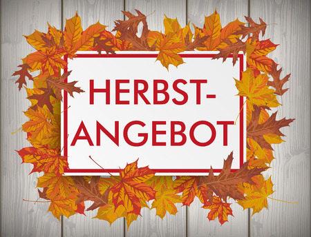 oak wood: German text Herbstangebot, translate Autumn offer . Eps 10 vector file.