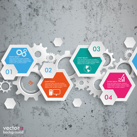 out of production: Infographic design with hexagons on the concrete background. Eps 10 vector file.