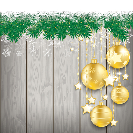 twigs: Fir twigs with snow and golden baubles on the wooden background. Eps 10 vector file.