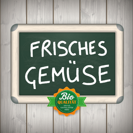 slat: Price stickers with german text Premium Qualitaet, Bio, translate Premium Quality, Bio. German text Frisches Gemuse, translate Fresh Vegetables. Eps 10 vector file.