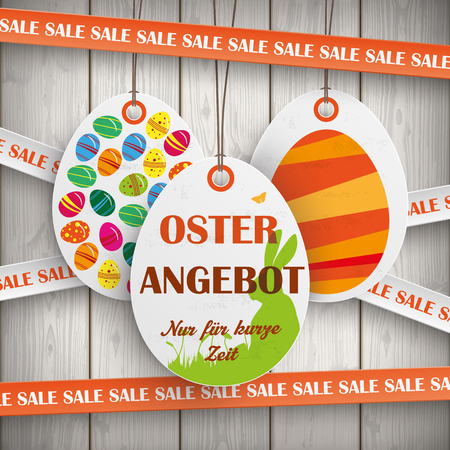 offer: Price sticker with german text Oster Angebot and Nur fuer kurze Zeit, translate Easter Offer and limited time only.. Eps 10 vector file.