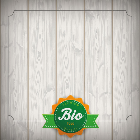 slat: Bio label on the wooden background. Eps 10 vector file.