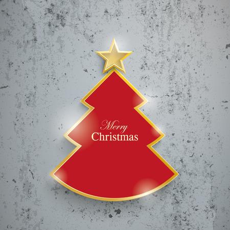 concrete: Cortar el árbol de navidad en el fondo de hormigón. EPS 10 del vector.