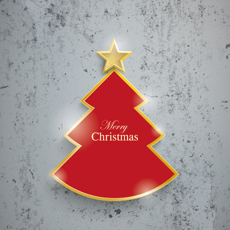 concrete: Cutting Christmas tree on the concrete background. Eps 10 vector file. Illustration