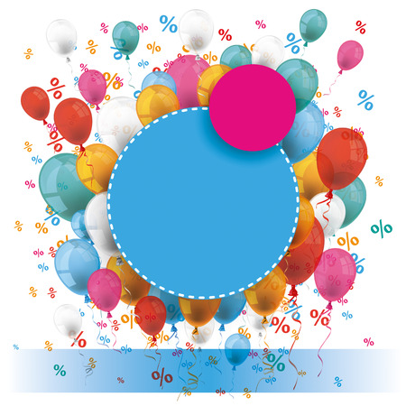 back round: Pink and blue paper circles with colored balloons and percents on the white. Eps 10 vector file. Illustration