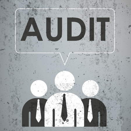 proffessional: 3 businessmen with speech bubble and text Audit on the concrete. Eps 10 vector file.