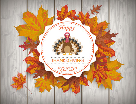 gobble: Emblem with foliage and text Happy Thanksgiving.Eps 10 vector file.