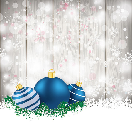 snoflake: Snow with blue baubles on the wooden background. Eps 10 vector file. Illustration