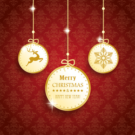 thaler: Christmas baubles on the red background with ornaments. Eps 10 vector file.