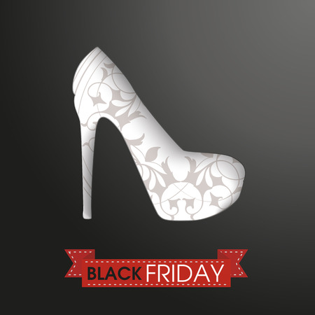 onlineshop: Shoue with ribbon and text black friday. Eps 10 vector file.