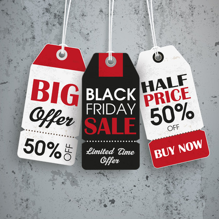 Black friday price stickers the concrete background. Eps 10 vector file.