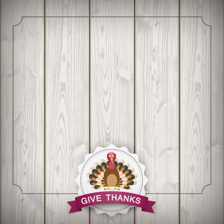 turkey: Vintage background with emblem, turkey and text Give Thanks. Eps 10 vector file.
