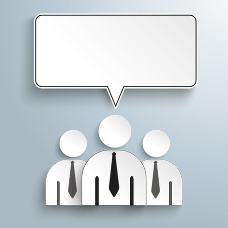 Businessmen with speech bubble on the gray background. Eps 10 vector file.