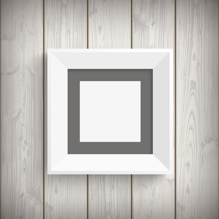 quadrat: White picture frame on the wooden background. Eps 10 vector file.