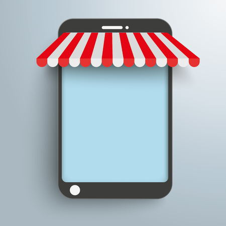 curtain up: Smartphone as shop on the gray background. Eps 10 vector file. Illustration