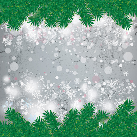 concrete background: Snow with fir branches on concrete background. Eps 10 vector file.
