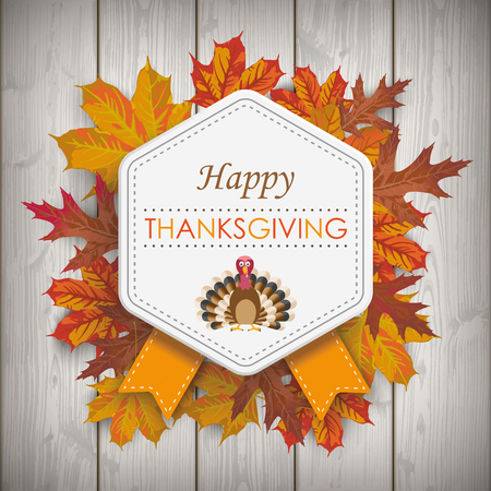 Wooden background with emblem, foliage and text Happy Thanksgiving Eps 10 vector file. Vettoriali
