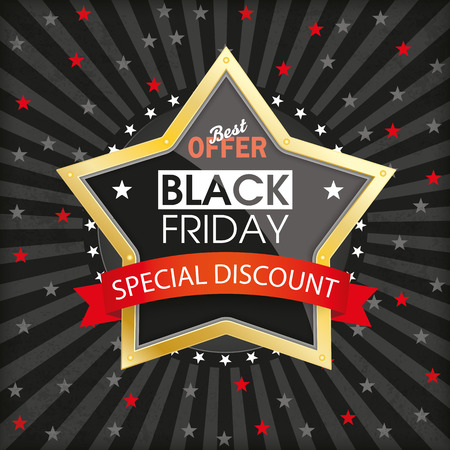 Black friday brochure background with hole, stripes and stars. Eps 10 vector file. Illustration