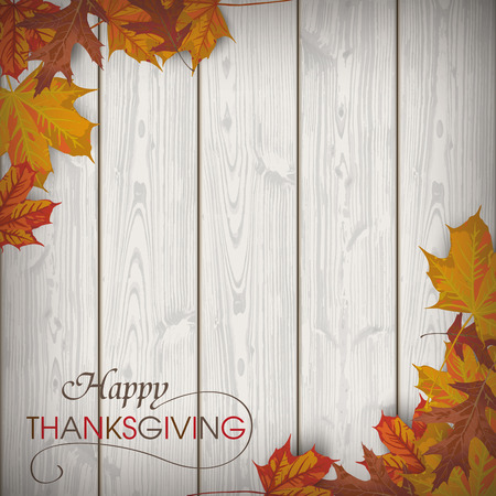 thanksgiving family: Autumn wooden background with foliage. Eps 10 vector file. Illustration
