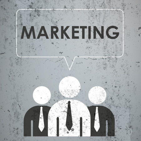 proffessional: 3 businessmen with speech bubble and text Marketing on the concrete. Eps 10 vector file.