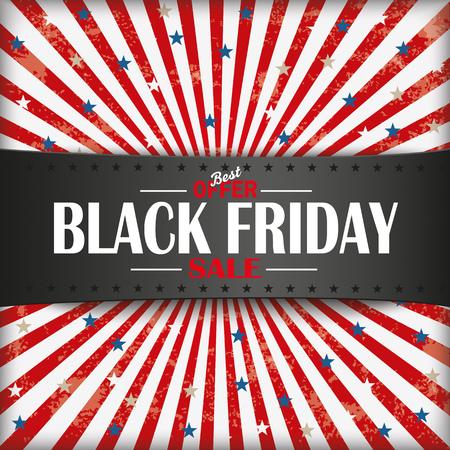 rebate: Black Friday retro flyer with black banner. Eps 10 vector file.