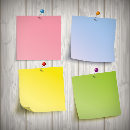 postit note: Wooden board with 4 colored sticks. Eps 10 vector file.