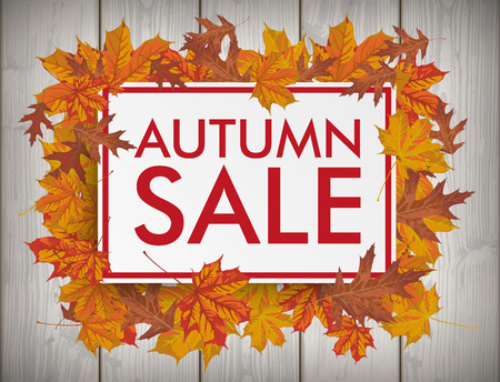 slat: Board with text Autumn Sale. Eps 10 vector file. Illustration