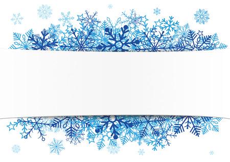Livre blanc bannière avec des flocons de neige bleus. EPS 10 fichier vectoriel. Banque d'images - 48823431
