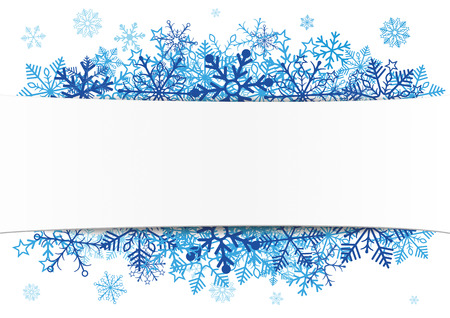White paper banner with blue snowflakes.  Eps 10 vector file.