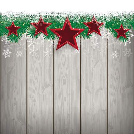twigs: Fir twigs with snow and red stars on the wooden background. Eps 10 vector file.
