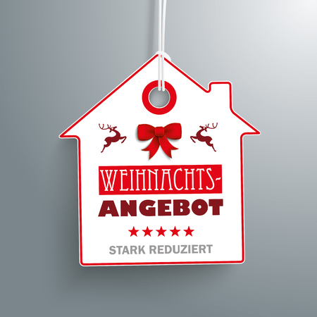 sale tag: German text Weihnachtsangebot, stark reduziert, translate Christmas Offer, discount. Eps 10 vector file. Illustration