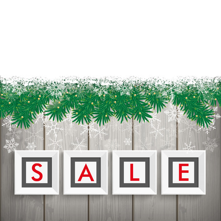 laths: Christmas sale frames with twigs and snow on the wooden background. Eps 10 vector file. Illustration