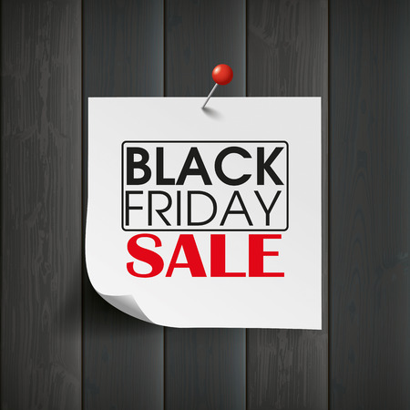 onlineshop: Wooden board with stick and text Black Friday Sale. Eps 10 vector file.