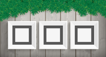 lath in modern: Wooden christmas card with green twigs and 3 frames. Eps 10 vector file. Illustration