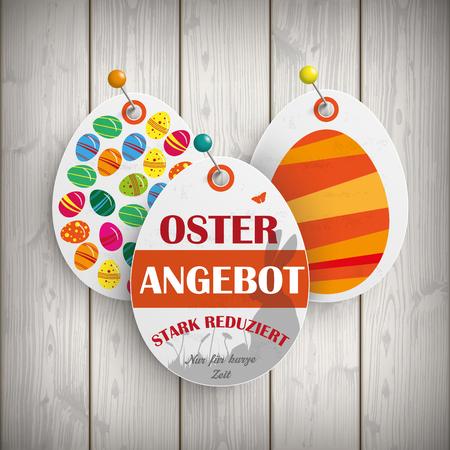 stark: German text Osterangebot, Stark reduziert, translate Easter Offer, special discount. Eps 10 vector file.