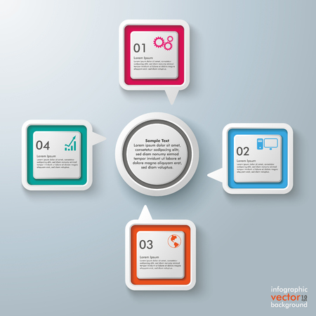 vecter: Four colorful speech bubbles with circle centre on the gray background. Eps 10 vector file.