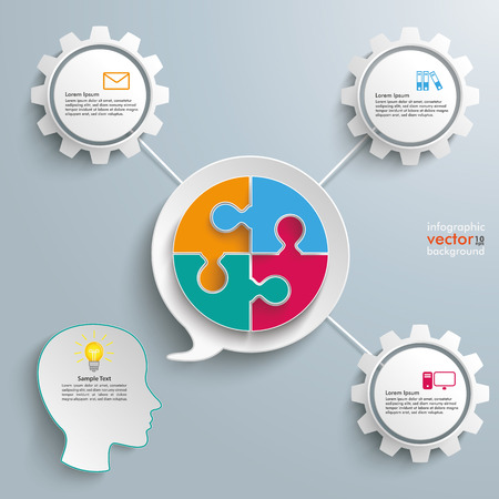 argumentation: Paper speech bubble with circle puzzle and gears on the gray background. Eps 10 vector file.
