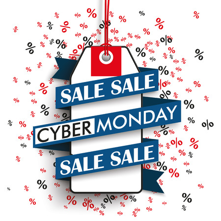 eps 10: Price sticker with ribbon and text cyber monday sale on the background with percents. Eps 10 vector file.